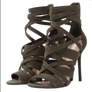 Aldo Forres Green Strappy Soft Suede Heels